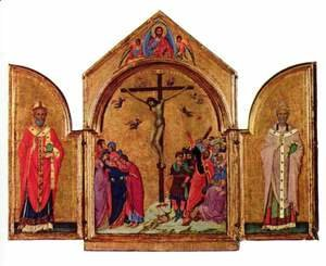 Duccio Di Buoninsegna - Crucifixion triptych, left St. Nicholas, St. Gregory the right