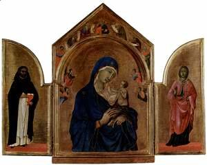 Duccio Di Buoninsegna - London triptych, Madonna with the main table in tympanum angels and prophets, St. Dominic left wing, right wing of St. Agnes