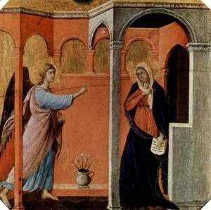 Duccio Di Buoninsegna - Maesta, altarpiece of Siena cathedral, front, predella with scenes from the childhood of Jesus and the prophets, preaching scene