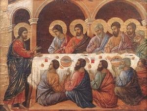 Duccio Di Buoninsegna - Appearence While the Apostles are at Table 1308-11