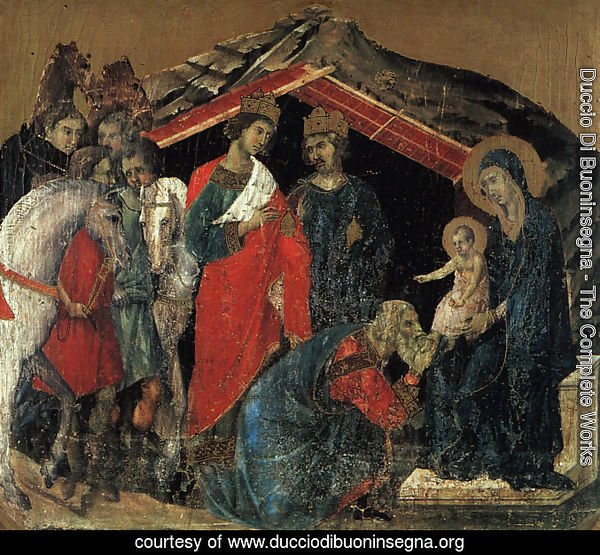 "The Maesta Altarpiece (detail from the predella featuring ""The Adoration of the Magi"") 1308-11"