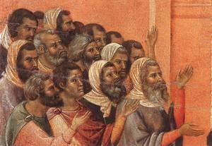Duccio Di Buoninsegna - Christ Accused by the Pharisees (detail) 1308-11