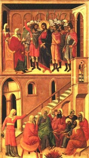 Duccio Di Buoninsegna - Christ before Annas and Peter Denying Jesus 1308-11