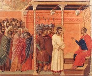 Duccio Di Buoninsegna - Christ Before Pilate Again 1308-11
