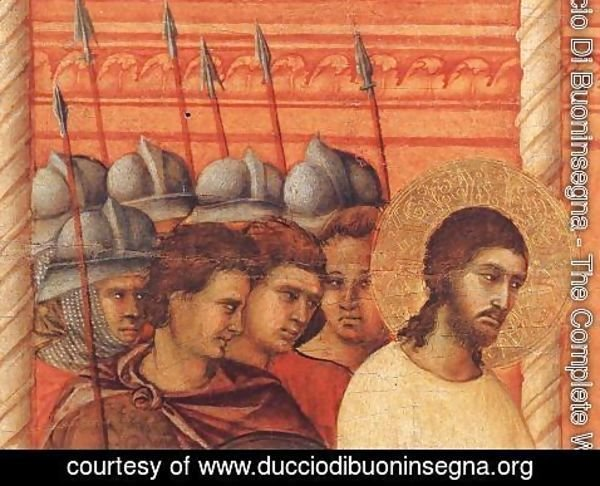 Duccio Di Buoninsegna - Christ Before Pilate Again (detail) 1308-11