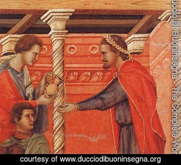 Duccio Di Buoninsegna - Pilate Washing his Hands (detail) 1308-11