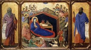 Duccio Di Buoninsegna - Nativity between Prophets Isaiah and Ezekiel 1308-11